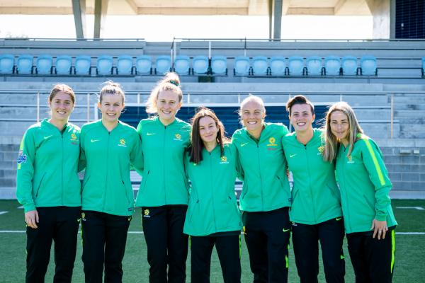 Matildas Mason with some Westfield Matildas