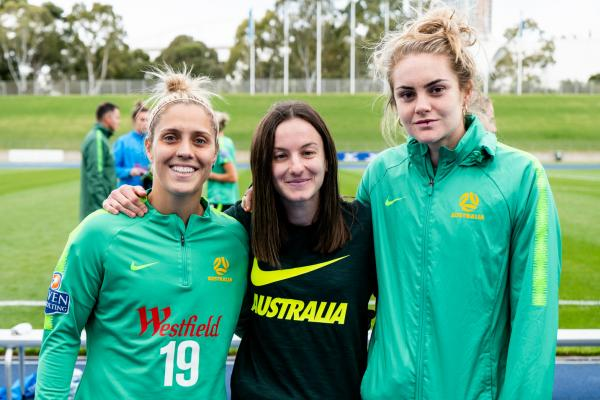 Nicole Christodoulou with Katrina Gorry and Ellie Carpenter